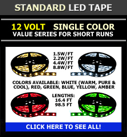 led tape light 12v 24v 120v 1 color and rgb. Black Bedroom Furniture Sets. Home Design Ideas