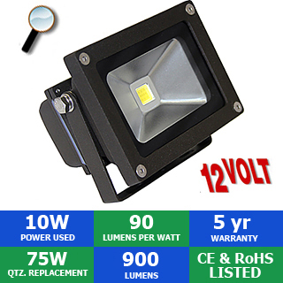 12  volt DC led flood light outdoor security light cool white Two x 10 watt