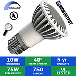 LED PAR20 Bulb, 10 Watts, 750 Lumens, 40°, Dimmable