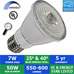 LED PAR20 Bulb, 7 Watts, 550-600 Lumens, 40° or 25°, Dimmable