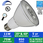 LED PAR30 Bulb, 11 Watts, 850 Lumens, 40° or 25°, Long Neck, Dimmable