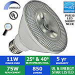 LED PAR30 Bulb, 11 Watts, 850 Lumens, 40° or 25°, Short Neck, Dimmable