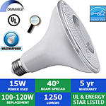 LED PAR38 Bulb, 15 Watts, 1250 Lumens, 40°, Outdoor Rated, Dimmable