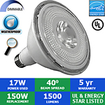 LED PAR38 Bulb, 17 Watts, 1500 Lumens, 40°, Outdoor Rated, Dimmable
