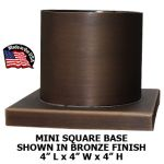 "Mini Square Style Base For Post or Post Top Light With 3"" Dia. Fitter"